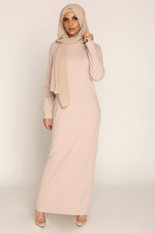 Ribbed Maxi Dress - Mink