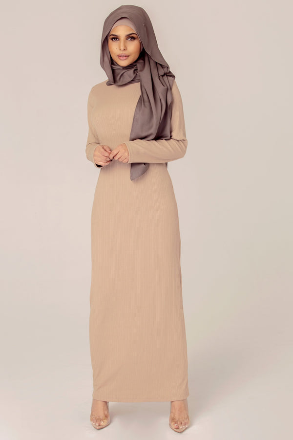 Ribbed Maxi Dress - Sand Nude