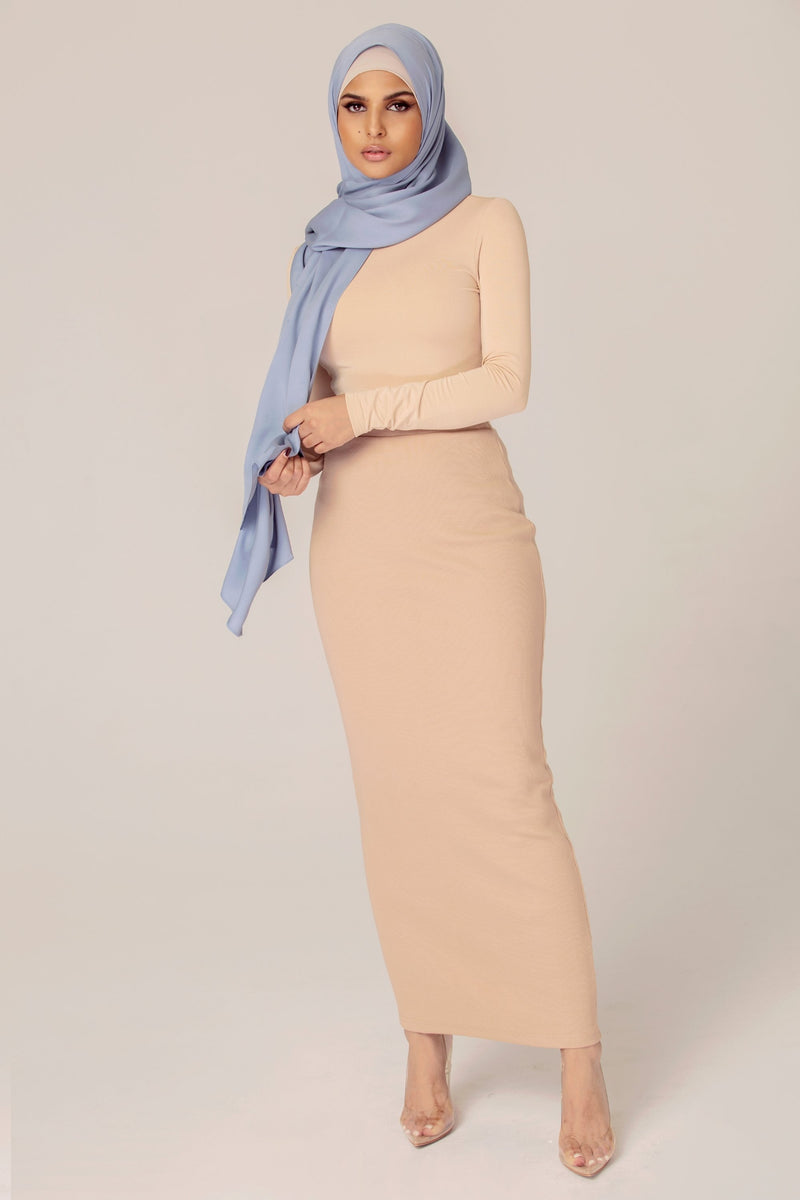 Ribbed Maxi Skirt - Camel Nude