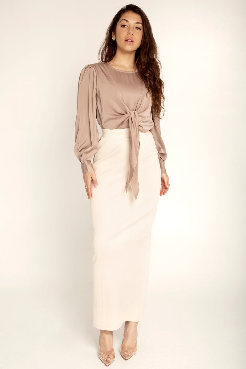 Ribbed Maxi Skirt - Cream