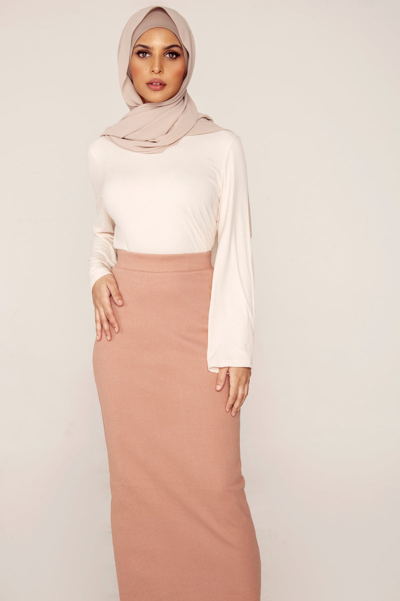 Ribbed Maxi Skirt - Dusty Rose