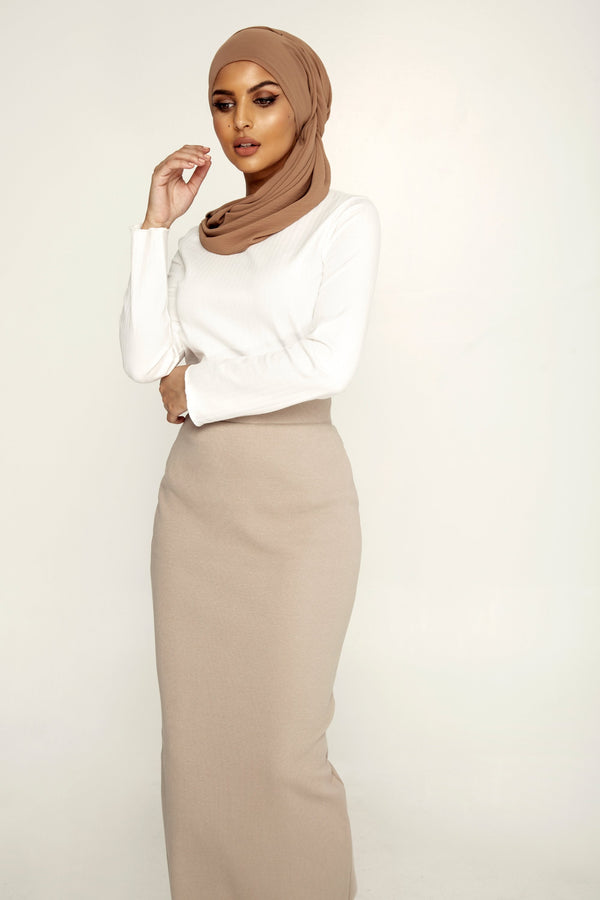 Ribbed Maxi Skirt - Grey Taupe
