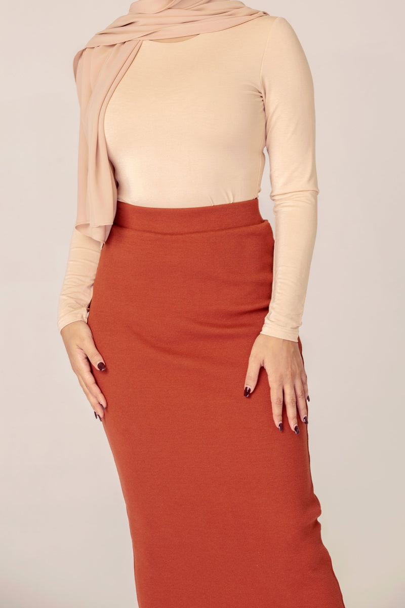 Ribbed Maxi Skirt - Rust