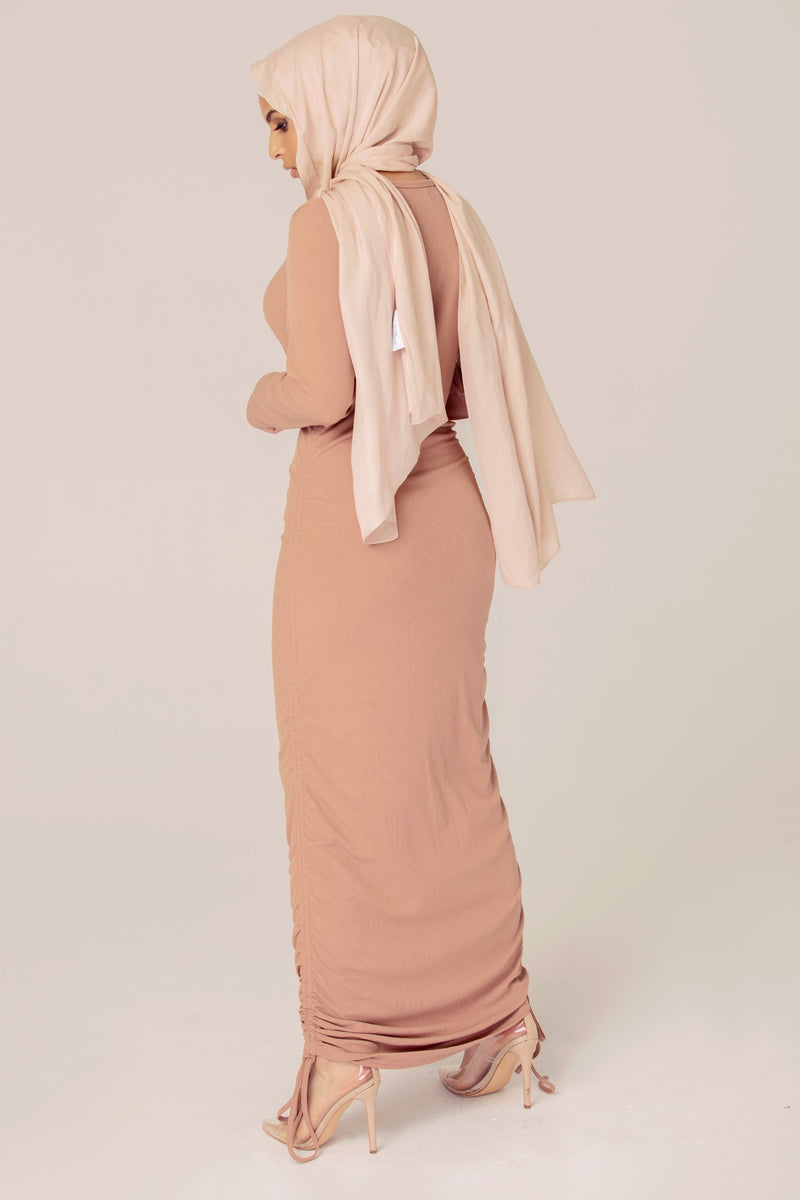 Ribbed Rouched Maxi Dress