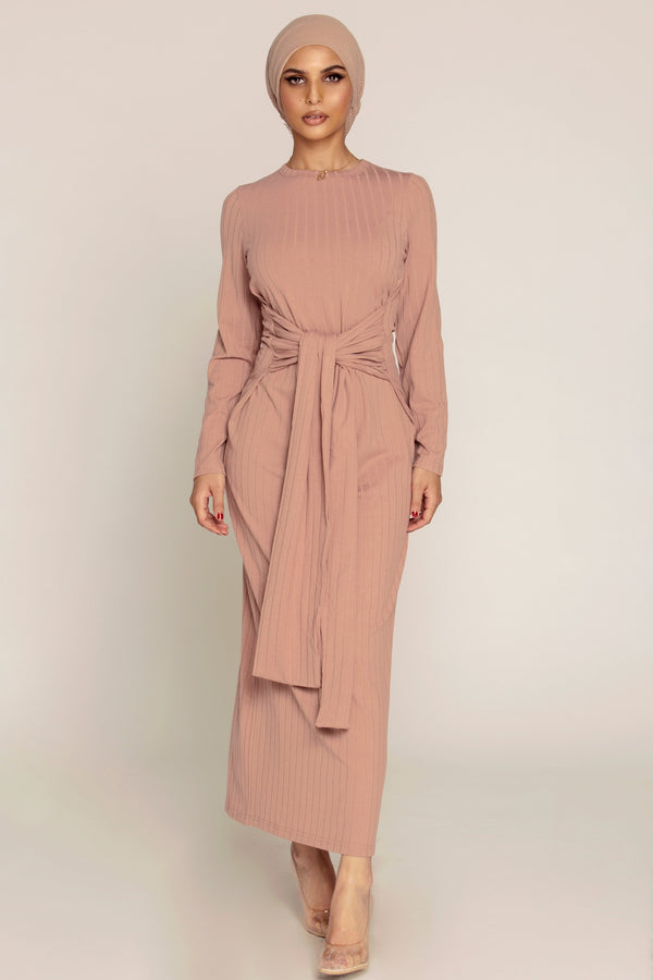Ribbed Tie Waist Maxi Dress - Rose Nude