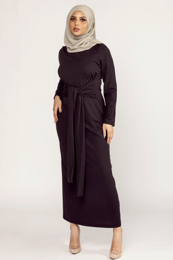 Ribbed Tie Waist Maxi Dress - Black