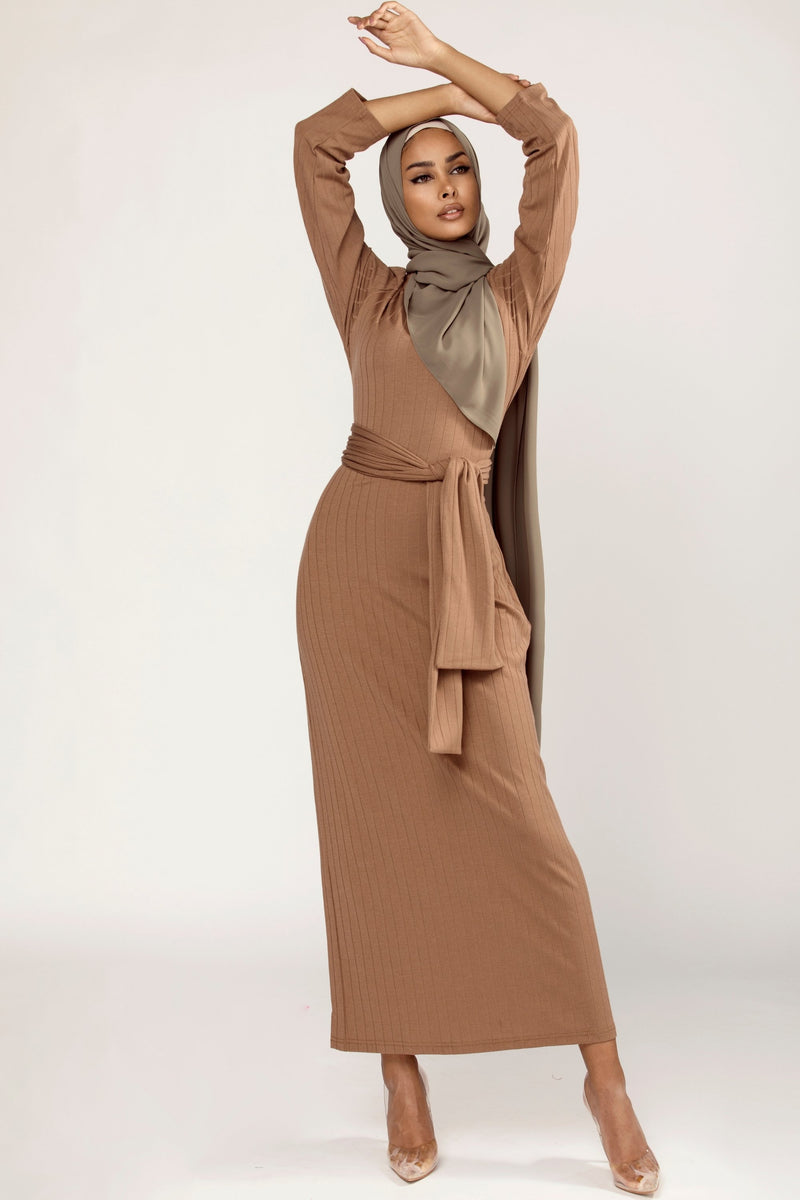 Ribbed Tie Waist Maxi Dress - Caffe