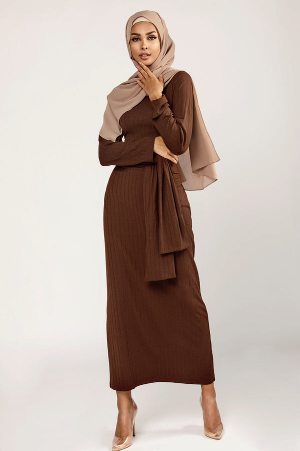 Ribbed Tie Waist Maxi Dress - Chocolate Brown