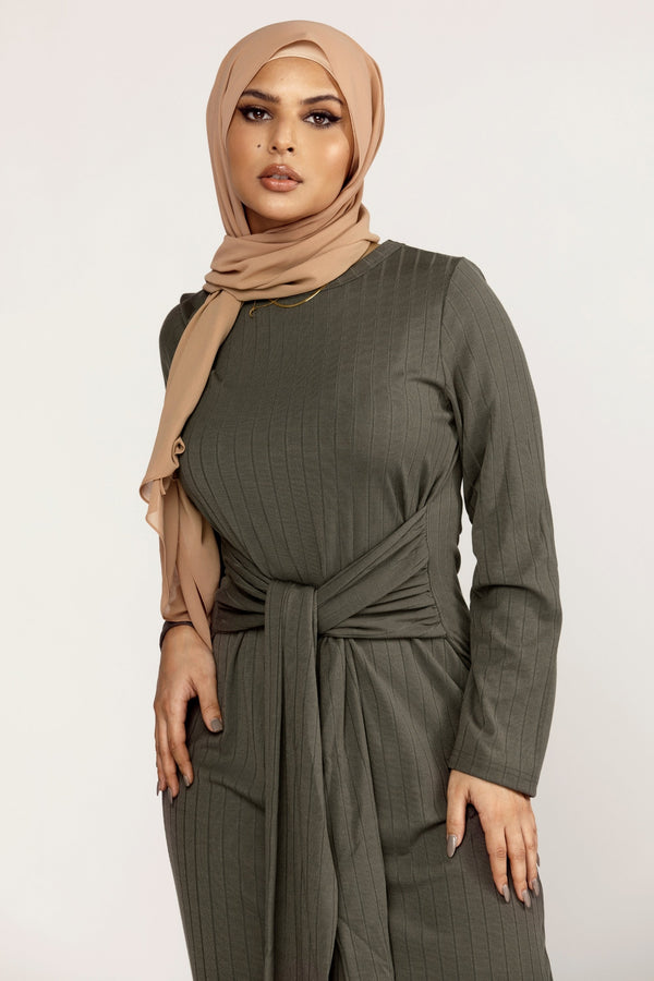 Ribbed Tie Waist Maxi Dress - Dark Sage