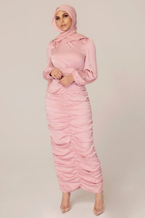 Rouched Dusty Pink Maxi Dress