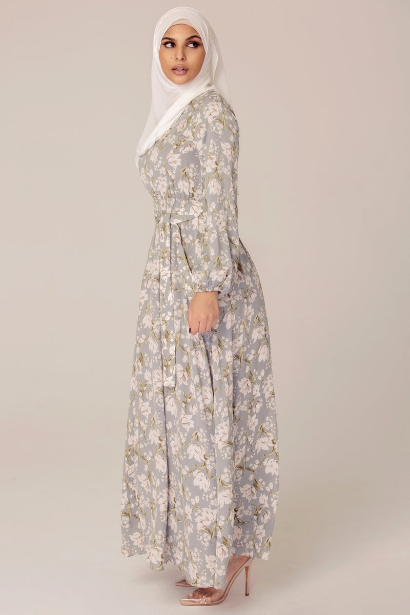 Dusty Blue Floral Maxi Dress