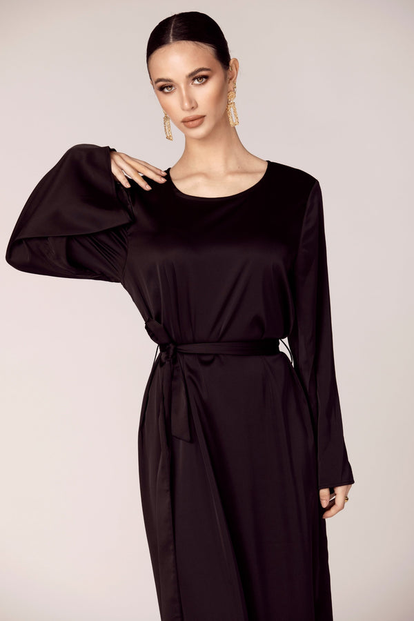 Satin Slip Maxi Dress - Black