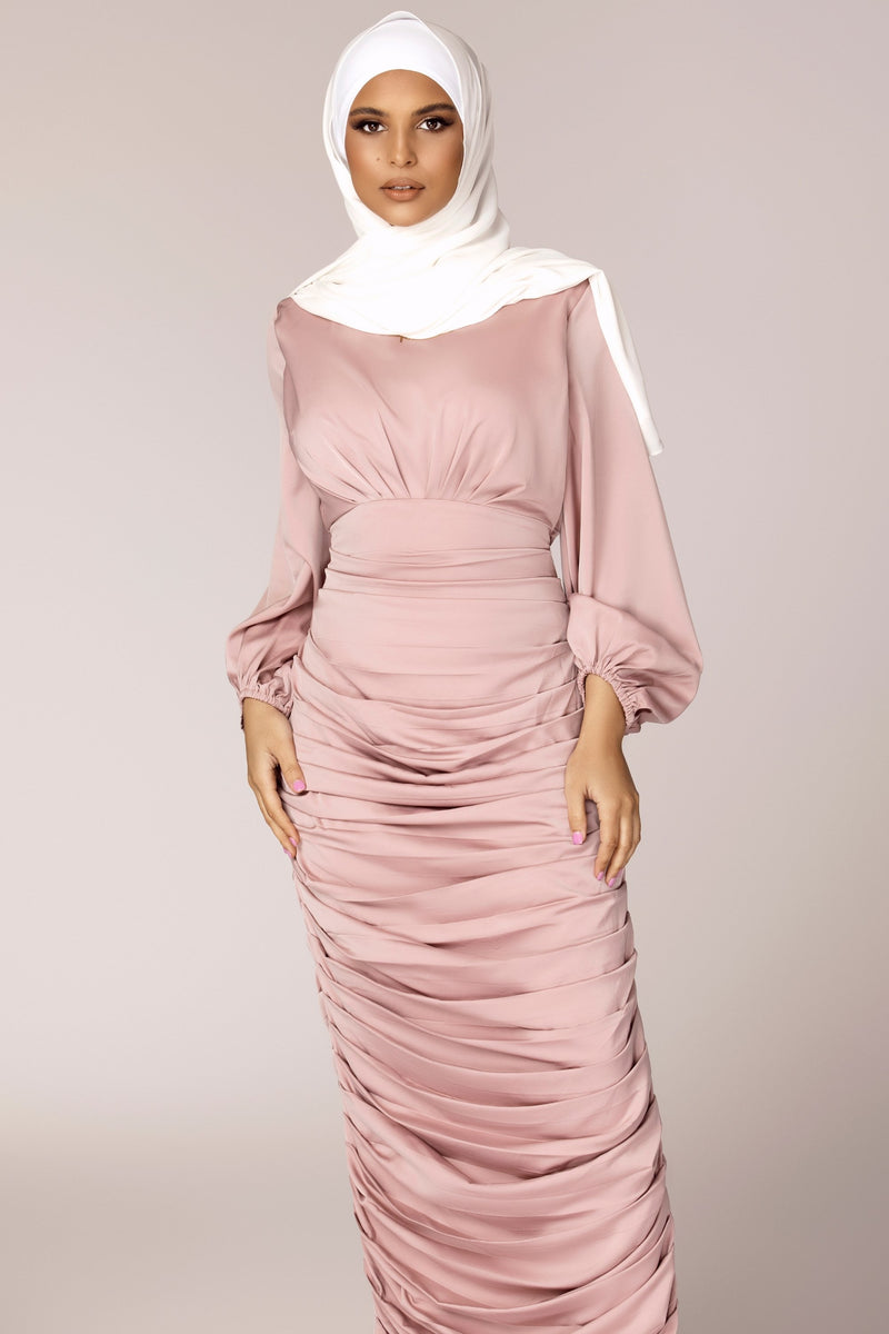 Selena Rouched Wrap Waist Gown - Dusty Pink