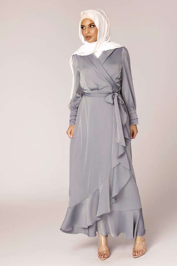 Shereen Wrap Front Satin Maxi Dress - Ocean Blue