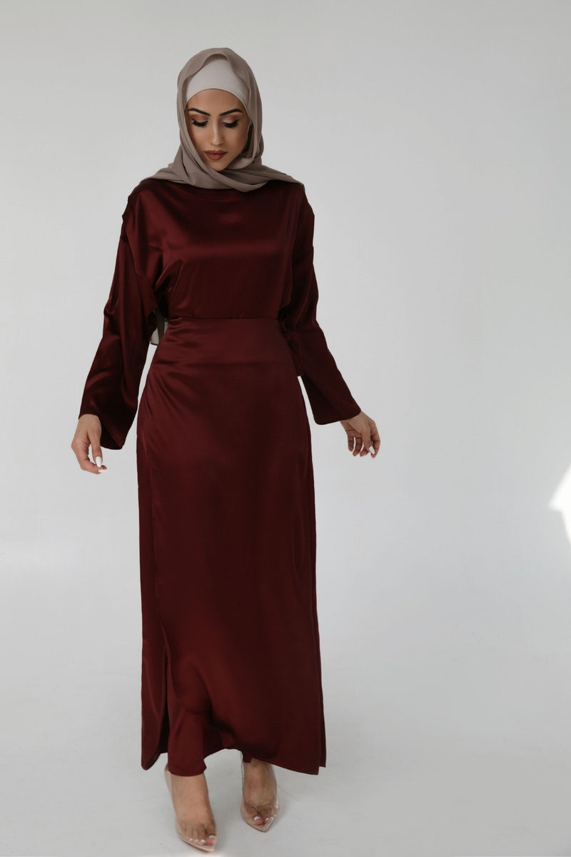 Dubai Style Abaya Jalabiya Muslim Dress Evening Long Sleeve Gown Hijab