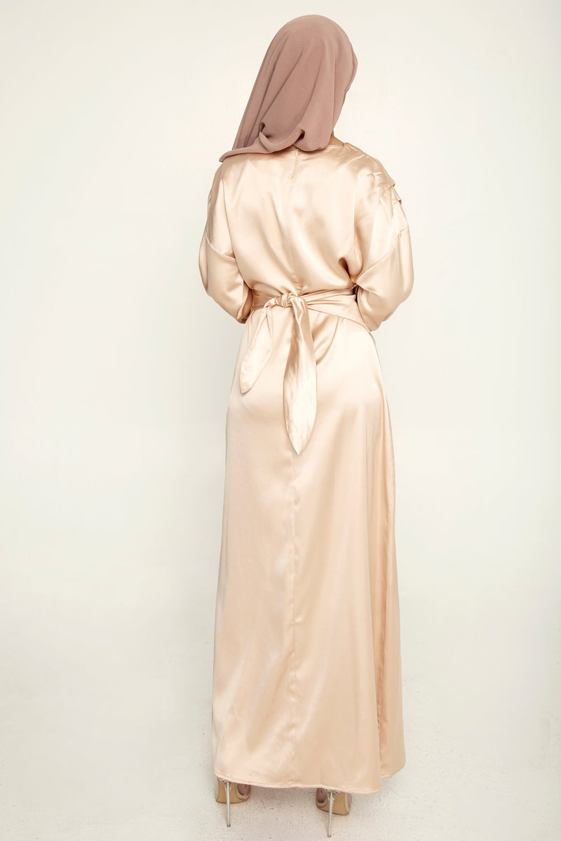 Sofia Light Gold Satin Wrap Gown