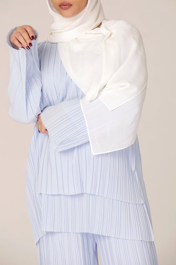 Sophie Pastel Blue Pleated Matching Set