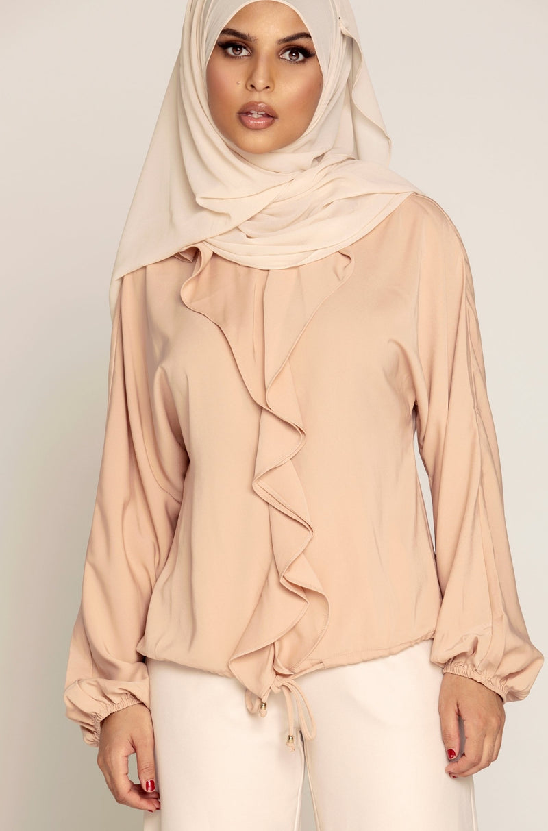 Stella Ruffle Front Top - Blush
