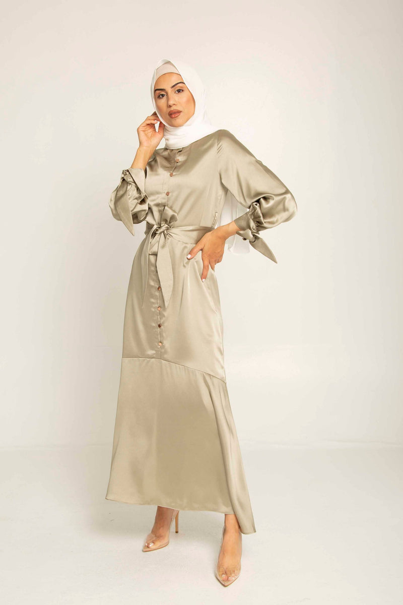 Talia Sage Satin Button Front Maxi Dress