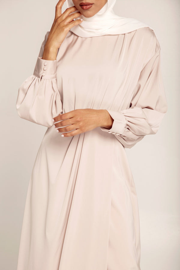 Valerie Satin Dolman Sleeve Maxi Dress - Light Nude