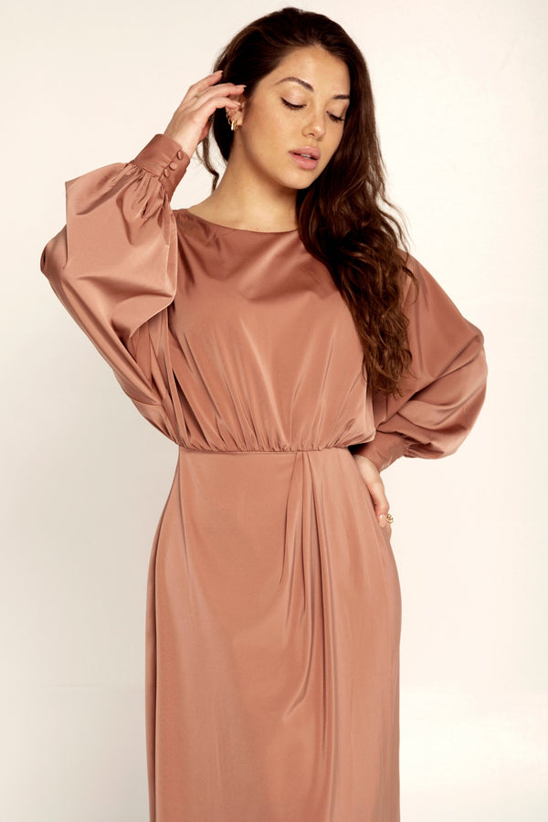 Valerie Satin Dolman Sleeve Maxi Dress - Rose