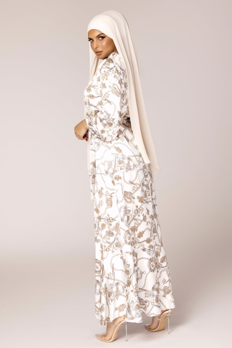 White Chain Print Satin Maxi Dress