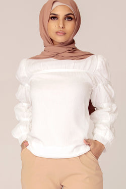 White Cinched Sleeve Top