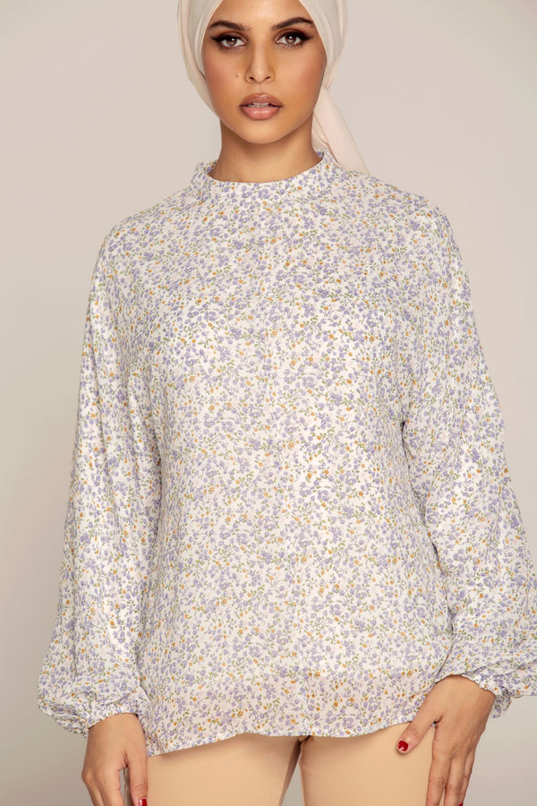 White Floral Chiffon Balloon Sleeve Top