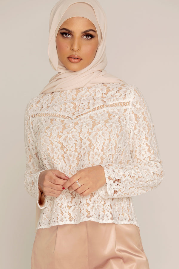 White Lace High Neck Top