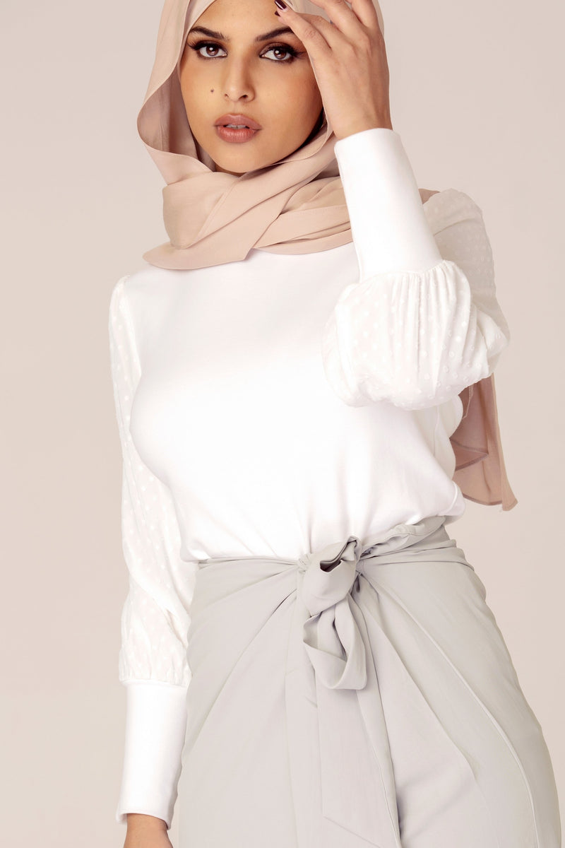 White Lantern Sleeve Top