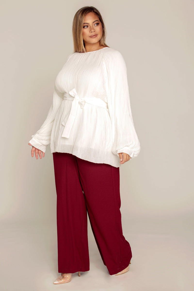 White Pleated Balloon Sleeve Top