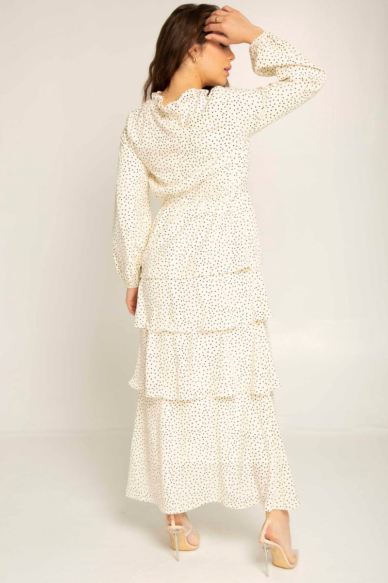 White Polka Dot Ruffle Maxi Dress