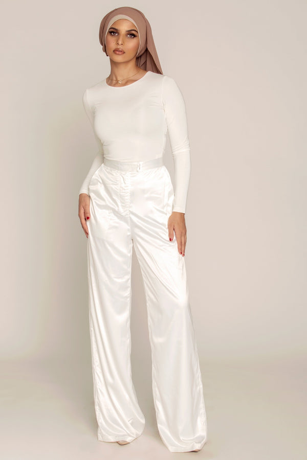 White Satin High Waist Pants