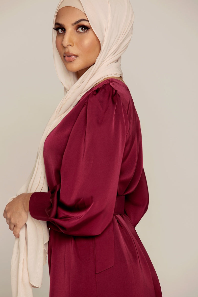 Wine Red Satin Maxi Dress