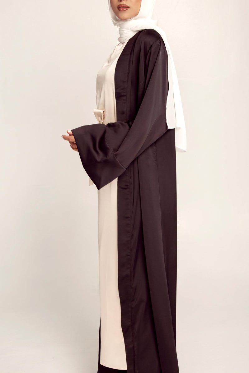Yusra Satin Open Abaya - Black