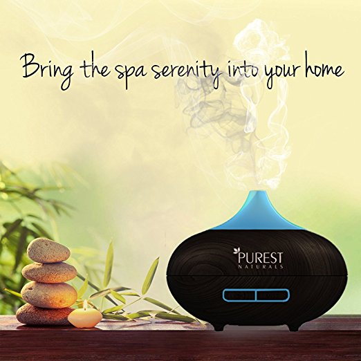 Purest Naturals Essential Oil Diffuser - Best Cool Mist Electric Aroma Spa Ultrasonic Aromatherapy Humidifier - Auto Shut-Off & 7 Color LED Lights (Upgraded 2018 Model) BLACK