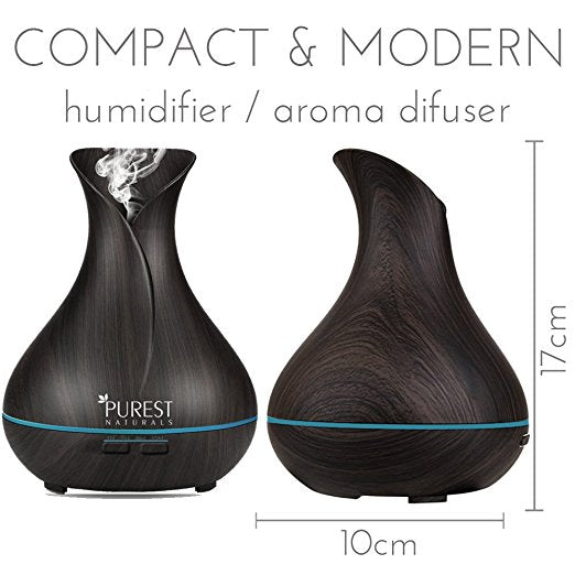 Purest Naturals 300ml Wood Grain Essential Oil Diffuser Humidifier - Upgraded Model, BLACK