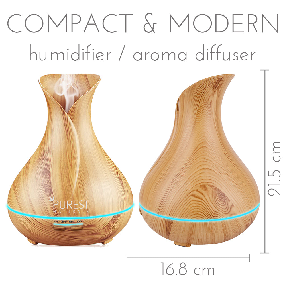 Purest Naturals 300ml Wood Grain Essential Oil Diffuser Humidifier - Upgraded Model