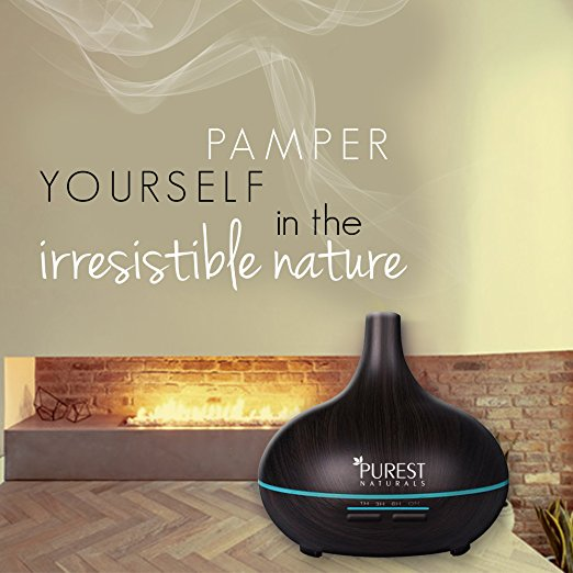 Purest Naturals 300ml Essential Oil Oils Diffuser Ultrasonic Cool Mist Aroma Humidifier - Whisper Quiet Large Aromatherapy Air Purifier For Home Office Bedroom Living Room Yoga - 17 LED Lights, BLACK