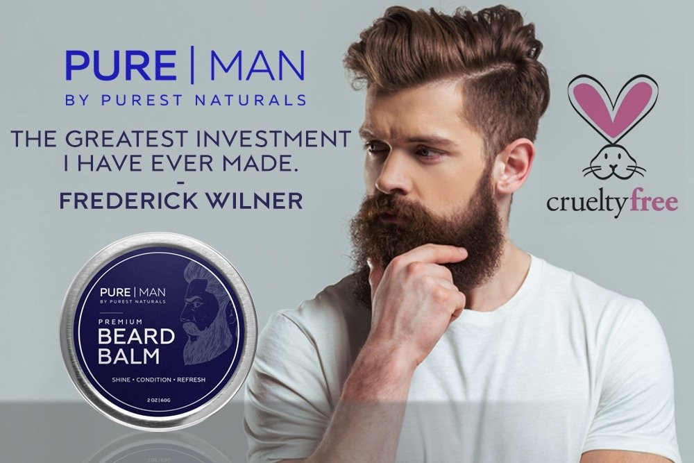 PURE | MAN Beard & Mustache Balm/Wax/Butter/Oil/Leave In Conditioner - Thickens, Strengthens, Softens, Tames & Styles Facial Hair Growth - Best & 100% Natural
