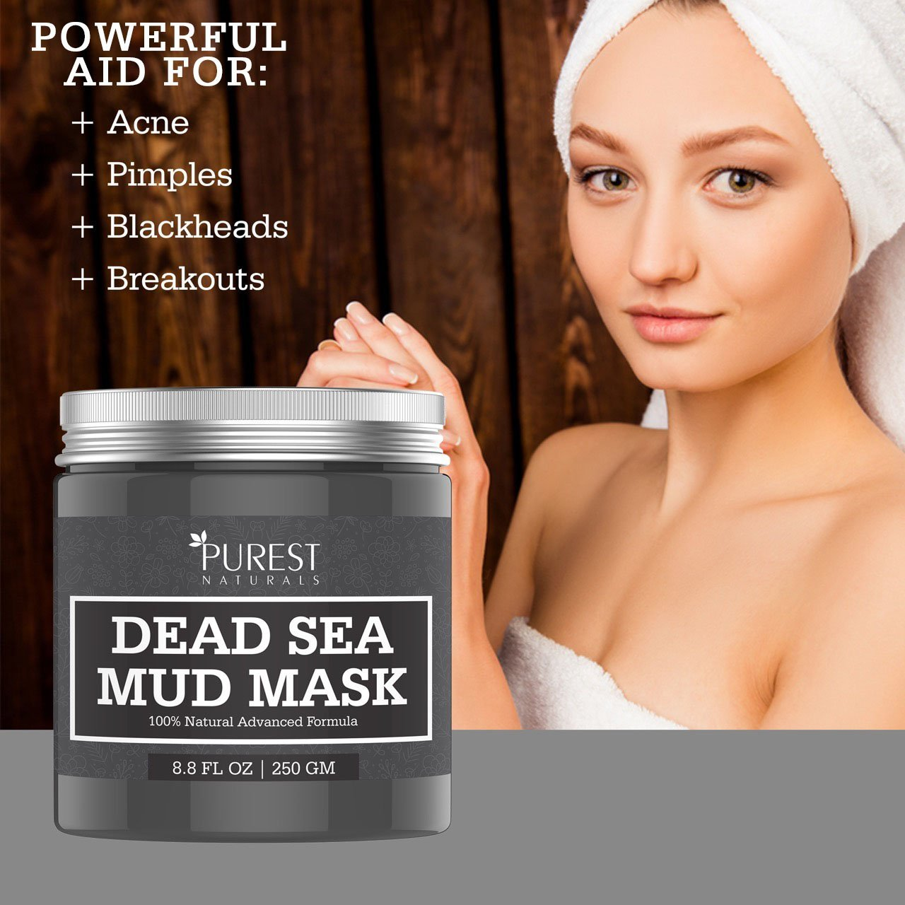 Purest Naturals Dead Sea Mud Mask - Best Facial Mask For Acne, Oily Skin & Blackheads - 100% Natural & Organic Deep Skin Cleanser - Reduces Signs Of Aging, Pores & Wrinkles - Ultimate Spa Quality