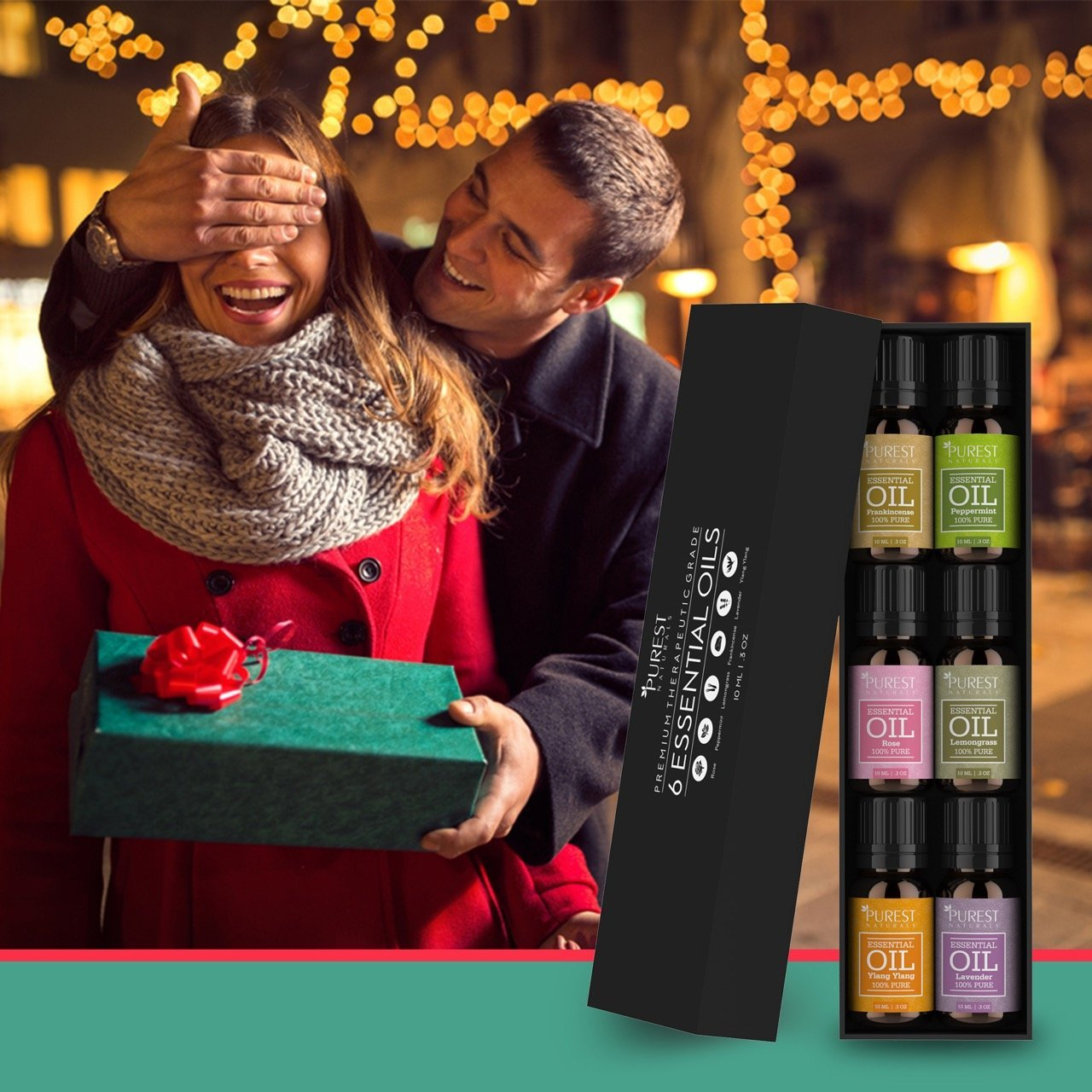 Purest Naturals Aromatherapy Top 6 Essential Oils Gift Set - 100% Pure Therapeutic Grade Oil - Rose Frankincense Lavender Ylang Ylang Lemongrass & Peppermint -Best For Oil Diffuser, Massage