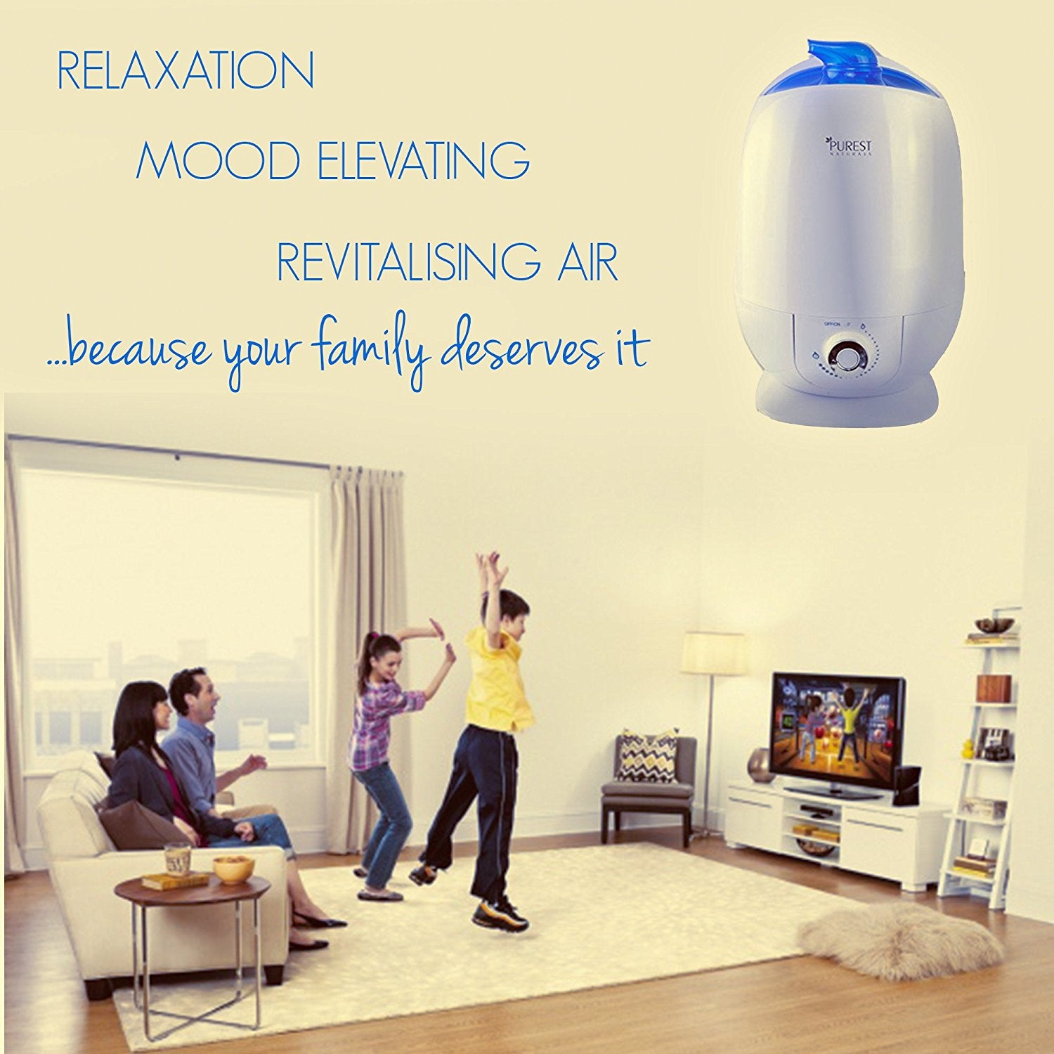 Purest Naturals Ultrasonic Cool Mist Humidifier Diffuser - 5.5L Large Capacity, Whisper-Quiet Operation, Automatic Shut-Off - 360° Rotatable Mist Outlet - Best For House, Kitchen, Bedroom, Bathroom