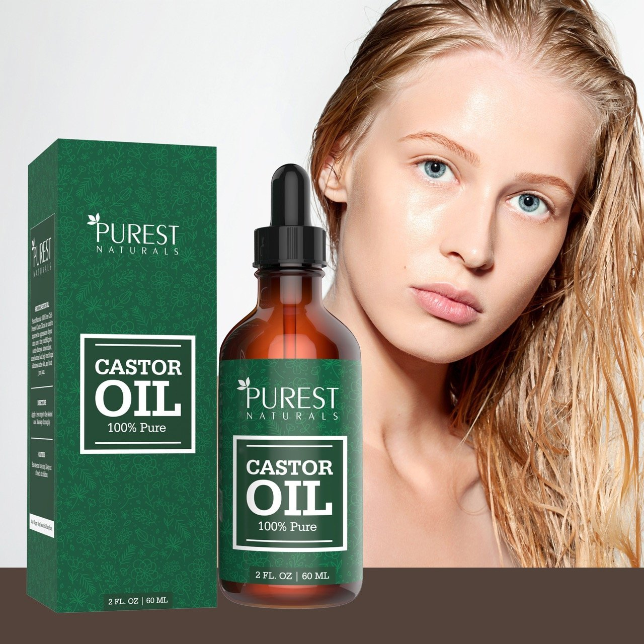 Purest Naturals Organic Castor Oil - Double Size - Best Natural Regrowth Treatment For Eyebrows, Eyelashes, Hair & Skin Moisturizer - 100% Cold-Pressed, Pure & Hexane Free