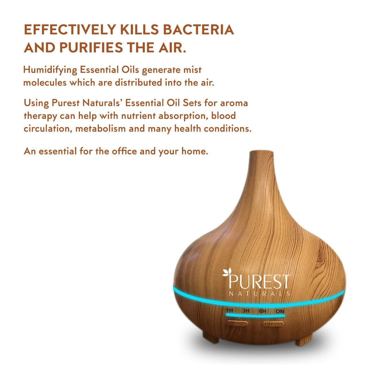 Purest Naturals 300ml Essential Oil Oils Diffuser Ultrasonic Cool Mist Aroma Humidifier - Whisper Quiet Large Aromatherapy Air Purifier For Home Office Bedroom Living Room Yoga - 17 LED Lights