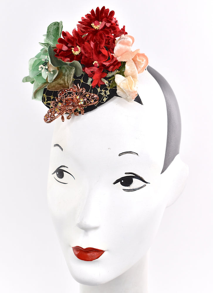 Adorable headpiece/fascinator with stunning vintage velvet flowers, netting and a stunning bee detail