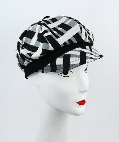 Black and white print cap with black trim - mariacurcic