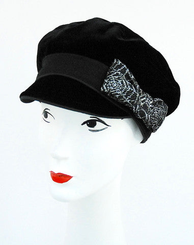 ladies Black velvet cap with vintage silver textured bow
