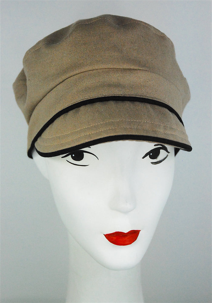 "Stylish cap, made to order in ""linen"" color"