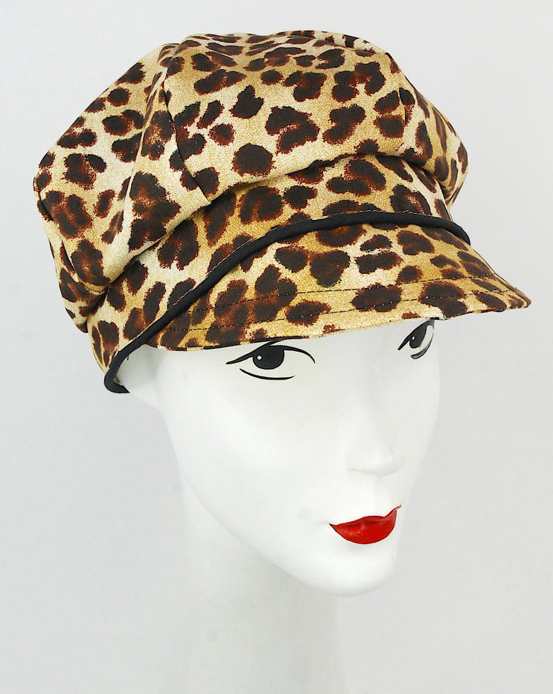 Leopard cap with black trim
